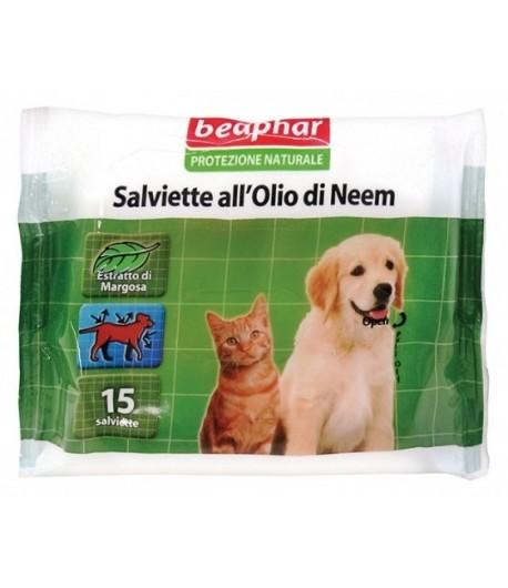 Beaphar, Protezione Naturale Olio di Neem, Salviette Cani e Gatti
