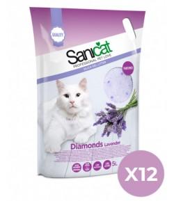 Sanicat Lettiera Diamonds Lavanda in Silicio 12 pezzi x 5 Lt. SPEDIZIONE GRATUITA