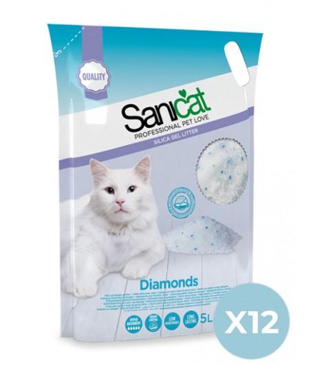 Sanicat Lettiera Diamonds in Silicio 12 pezzi x 5 Lt. SPEDIZIONE GRATUITA